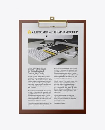 Plastic Clipboard With Paper Mockup - Front View