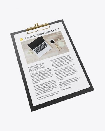 Textured Clipboard With Paper Mockup - Half Side View (High-Angle Shot)