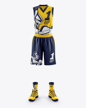 Women's Full Basketball Kit with V-Neck Jersey Mockup - Front View