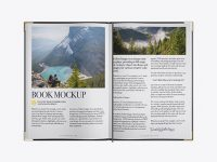 Opened Textured Book Mockup - Top View