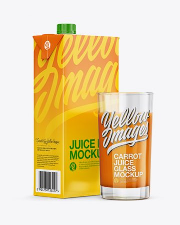 1L Carton Pack With Carrot Juice Glass Mockup - Halfside View