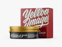 Glossy Lip Balm Tin With Glossy Box Mockup - Halfside View