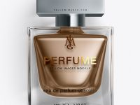 Perfume Bottle With Metallic Fillng Mockup - Top View