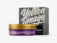 Matte Lip Balm Tin With Matte Box Mockup - Halfside View