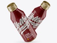 Two Metallic Drink Bottles With Glossy Finish Mockup