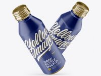 Two Metallic Drink Bottles With Matte Finish Mockup