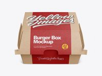 Kraft Burger Box Mockup - Front View (High-Angle Shot)