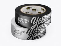 Two Metallic Duct Tape Rolls Mockup - Front View
