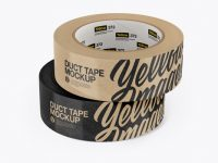 Two Kraft Duct Tape Rolls Mockup - Front View
