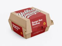 Kraft Burger Box Mockup - Half Side View (High-Angle Shot)