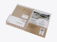 Kraft Folder with Papers and Envelope Mockup - Half Side View (High-Angle Shot)