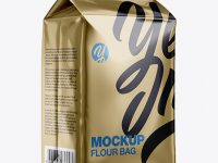 Metallic Paper Flour Bag Mockup - Halfside View (Eye-Level Shot)