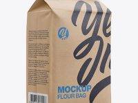 Kraft Paper Flour Bag Mockup - Halfside View (Eye-Level Shot)