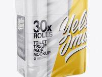 30x Toilet Tissue Pack Mockup - Half Side View