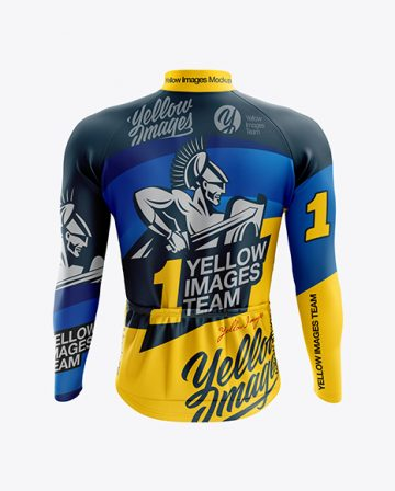 Men's Cycling Thermal Jersey LS mockup (Back View)