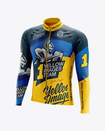 Men's Cycling Thermal Jersey LS mockup (Half Side View)