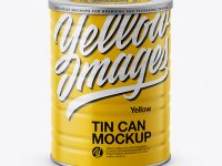Glossy Tin Can Mockup - High-Angle Shot