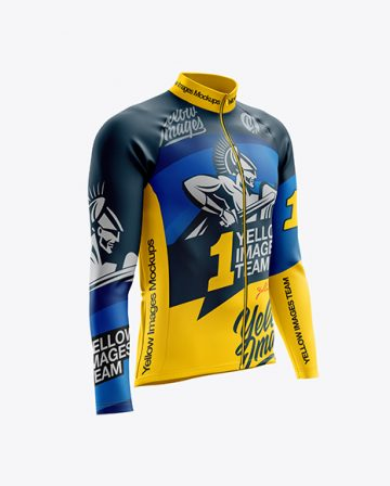 Men's Cycling Thermal Jersey LS mockup (Right Half Side View)