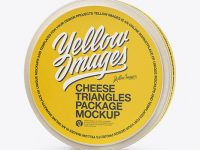 8 Cheese Triangles Package Mockup - Half Side View