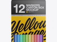 12x Markers Carton Box Mockup - Front View