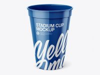 Glossy Stadium Cup Mockup - Front View (High Angle Shot)