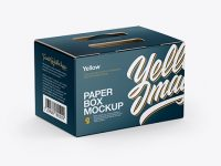 Glossy Paper Box Mockup - Half Side View (High-Angle Shot)