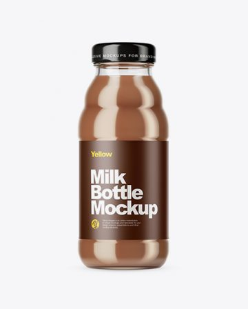 Clear Glass Chocolate Milk Bottle Mockup