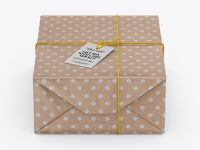 Kraft Paper Gift Packaging Mockup - Front View (High Angle Shot)