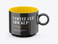 Glossy Coffee Cup Mockup - Front View (High Angle Shot)