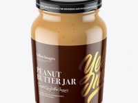 Clear Glass Jar with Peanut Butter Mockup - High-Angle Shot