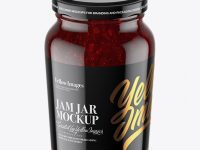 Clear Glass Jar with Cranberry Jam Mockup - High-Angle Shot