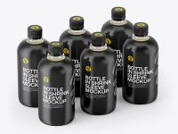 Bottles with Juice in Shrink Sleeves Mockup - Half Side View (High-Angle Shot)