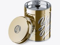 Opened Metallic Tin Box Mockup - High-Angle Shot