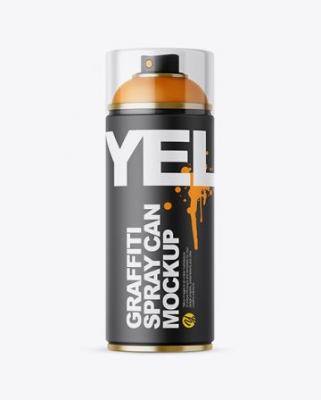 Matte Spray Can With Transparent Cap Mockup