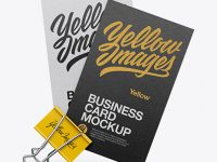 Two Textured Business Cards With Binder Mockup