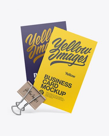 Two Business Cards With Binder Mockup