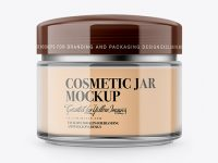 Clear Cosmetic Jar With Cream Mockup