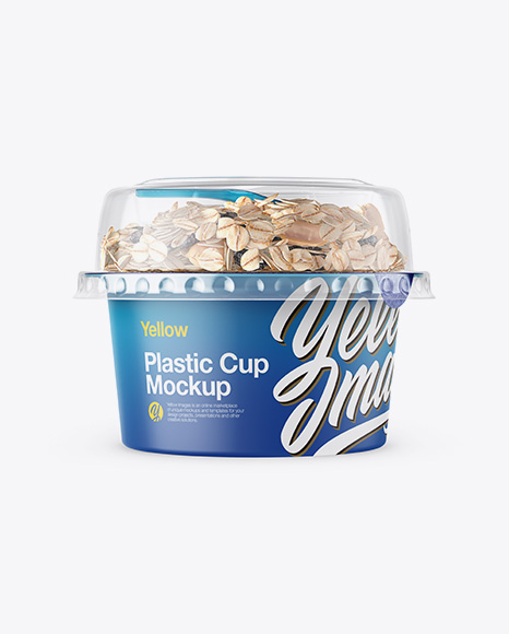 Plastic Cup with Musli Mockup - Front View