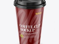 Coffee Cup Mockup - Front View (High-Angle Shot)