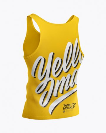 Tank Top Mockup - Back Half Side View