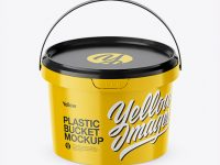 Glossy Plastic Bucket Mockup (High-Angle Shot)