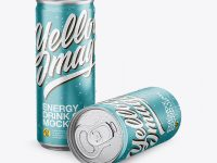 Two Aluminium Cans With Condensation & Metallic Finish Mockup