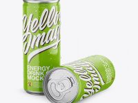 Two Glossy Aluminium Cans With Condensation Mockup