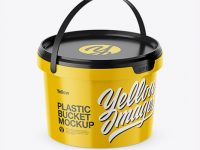 Glossy Plastic Bucket Mockup - Half Side View (High-Angle Shot)