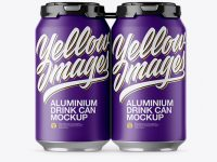 Pack with 4 Matte Aluminium Cans with Plastic Holder Mockup
