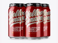Pack with 4 Metallic Aluminium Cans with Plastic Holder Mockup - Half Side View