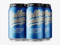 Pack with 4 Matte Metallic Aluminium Cans with Plastic Holder Mockup - Half Side View