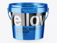 Metallic Plastic Bucket Mockup - High-Angle Shot