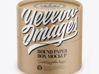 Kraft Round Paper Box Mockup - Front View (High-Angle Shot)