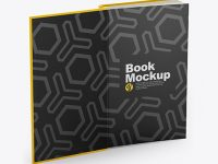 Opened Hardcover Book Mockup - Half Side View